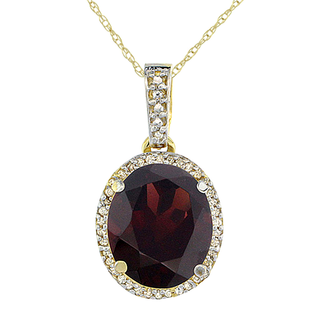 10K Yellow Gold Natural Garnet Pendant Oval 11x9 mm