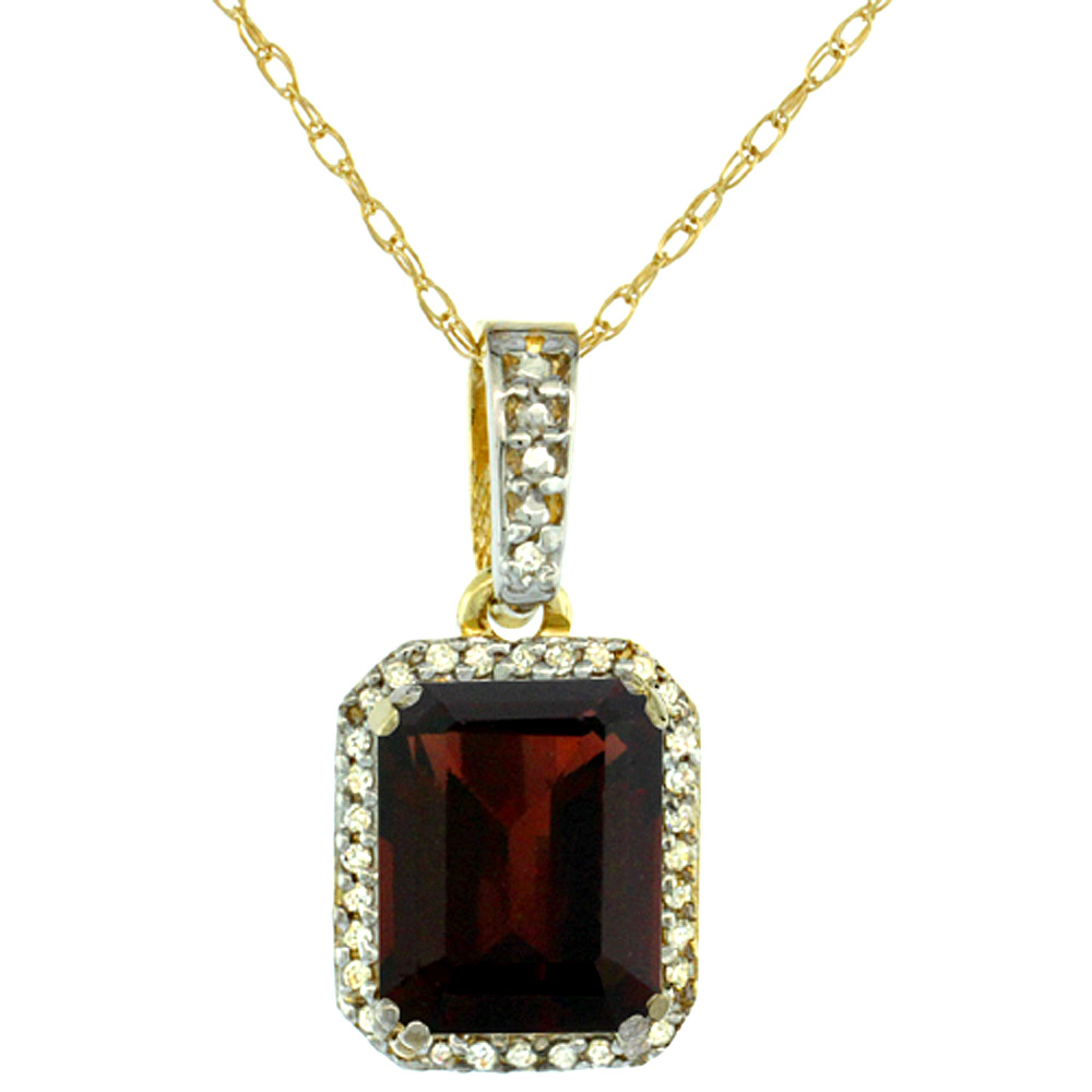 10K Yellow Gold Diamond Natural Garnet Pendant Octagon 9x7 mm