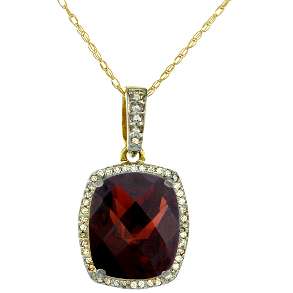 10K Yellow Gold Natural Garnet Pendant Octagon Cushion 12x10 mm