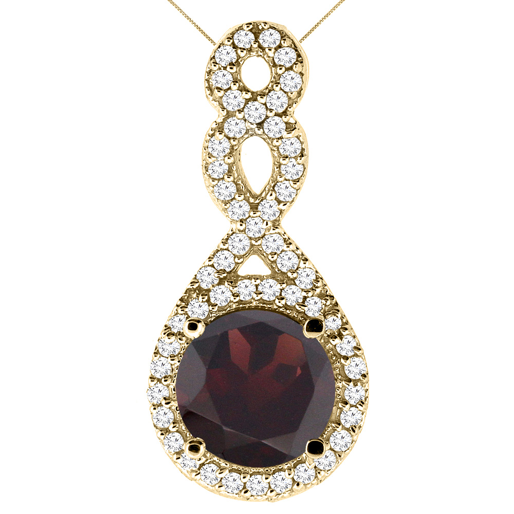 10K Yellow Gold Natural Garnet Eternity Pendant Round 7x7mm with 18 inch Gold Chain