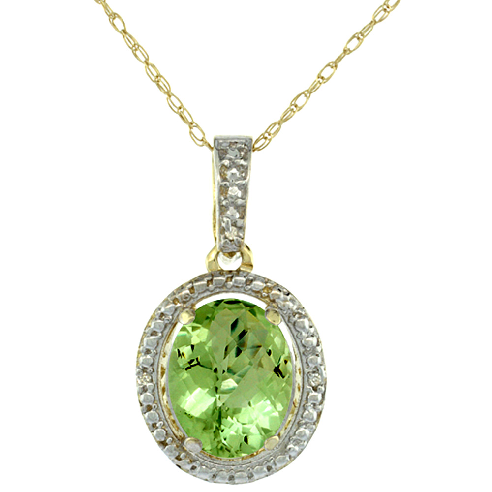 10K Yellow Gold Diamond Natural Peridot Pendant Oval 10x8 mm