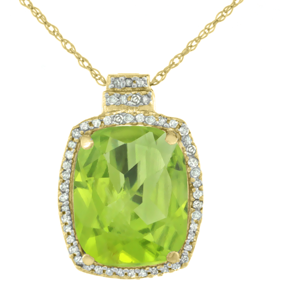 10K Yellow Gold Diamond Natural Peridot Pendant Octagon Cushion 11x9 mm