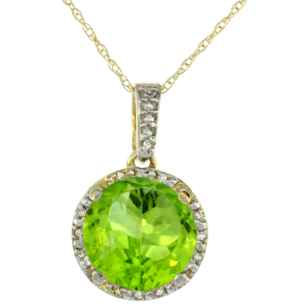 10K Yellow Gold Natural Peridot Pendant Round 11x11 mm & Diamond Accents