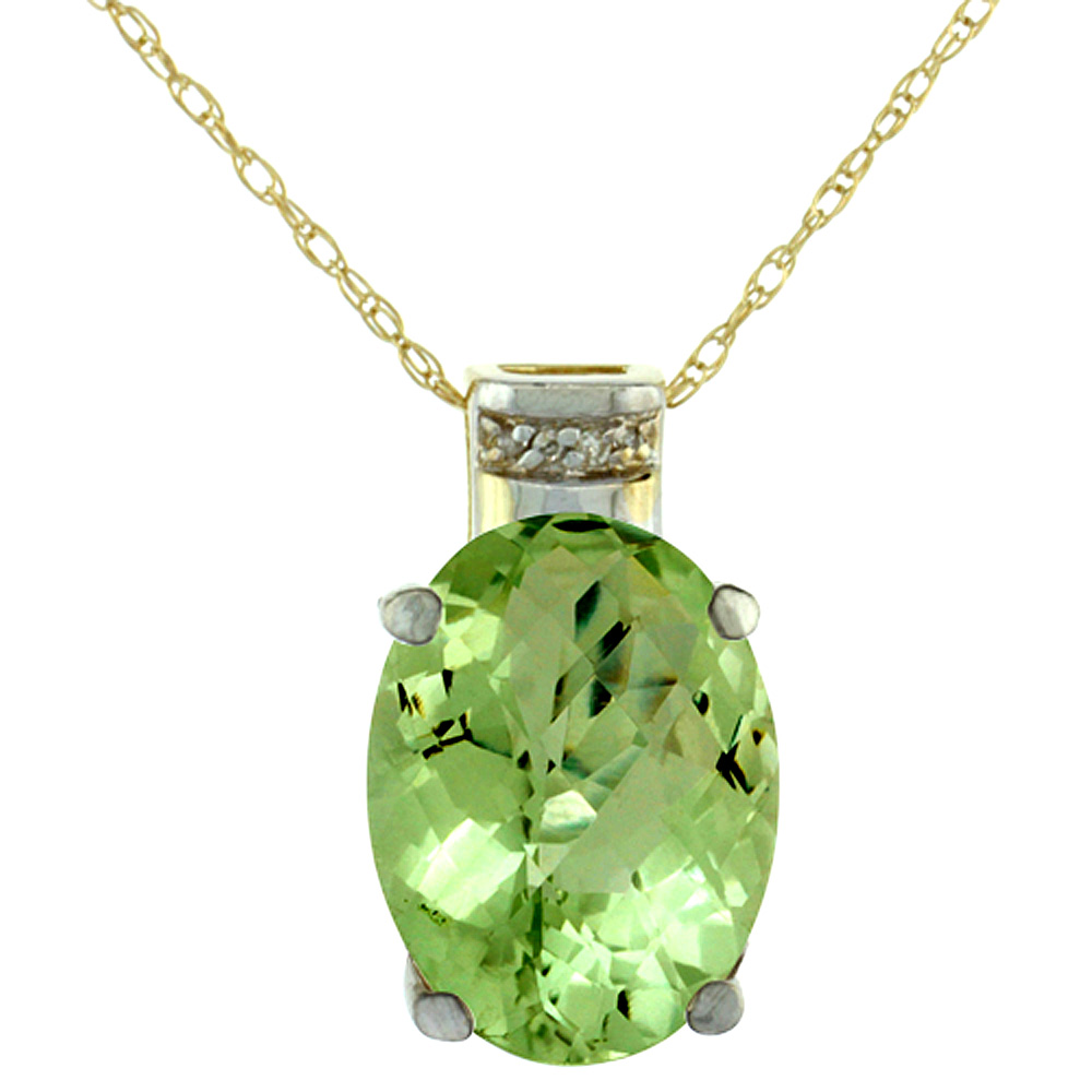 10K Yellow Gold Diamond Natural Peridot Pendant Oval 14x10 mm