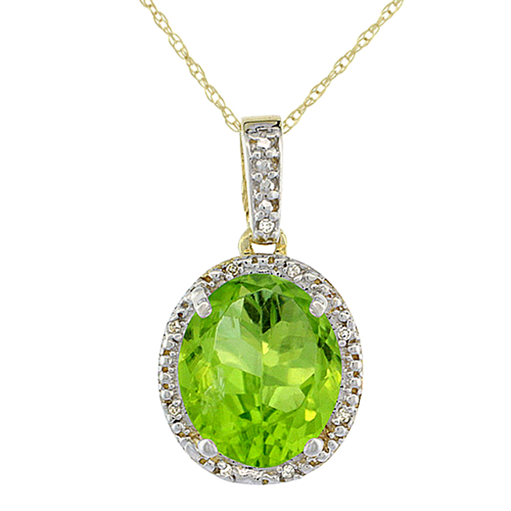 10K Yellow Gold Diamond Natural Peridot Pendant Oval 12x10 mm