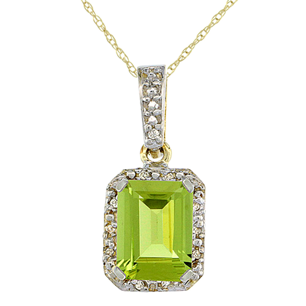 10K Yellow Gold Natural Peridot Pendant Octagon 8x6 mm & Diamond Accents