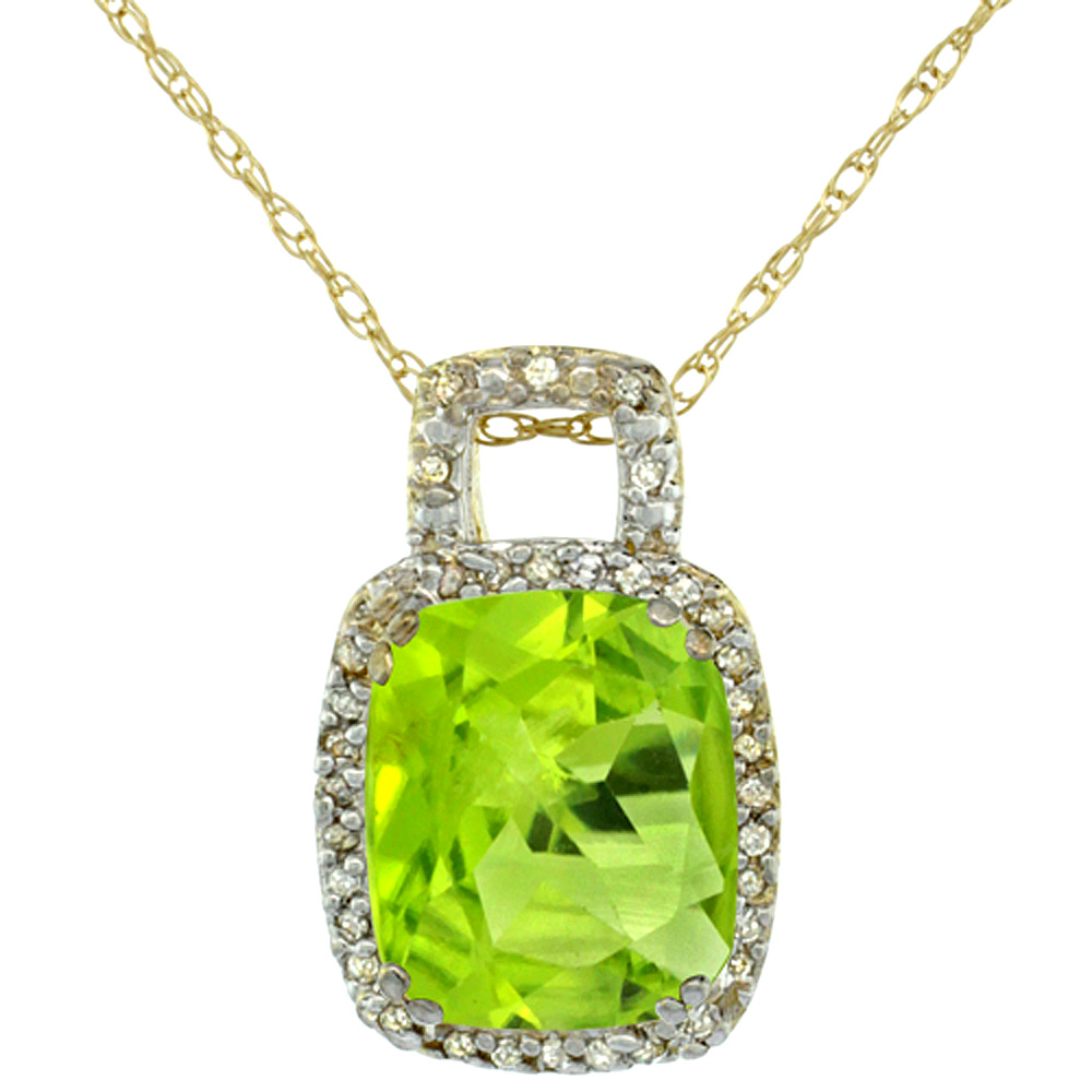 10K Yellow Gold Natural Peridot Pendant Octagon Cushion 10x8 mm & Diamond Accents
