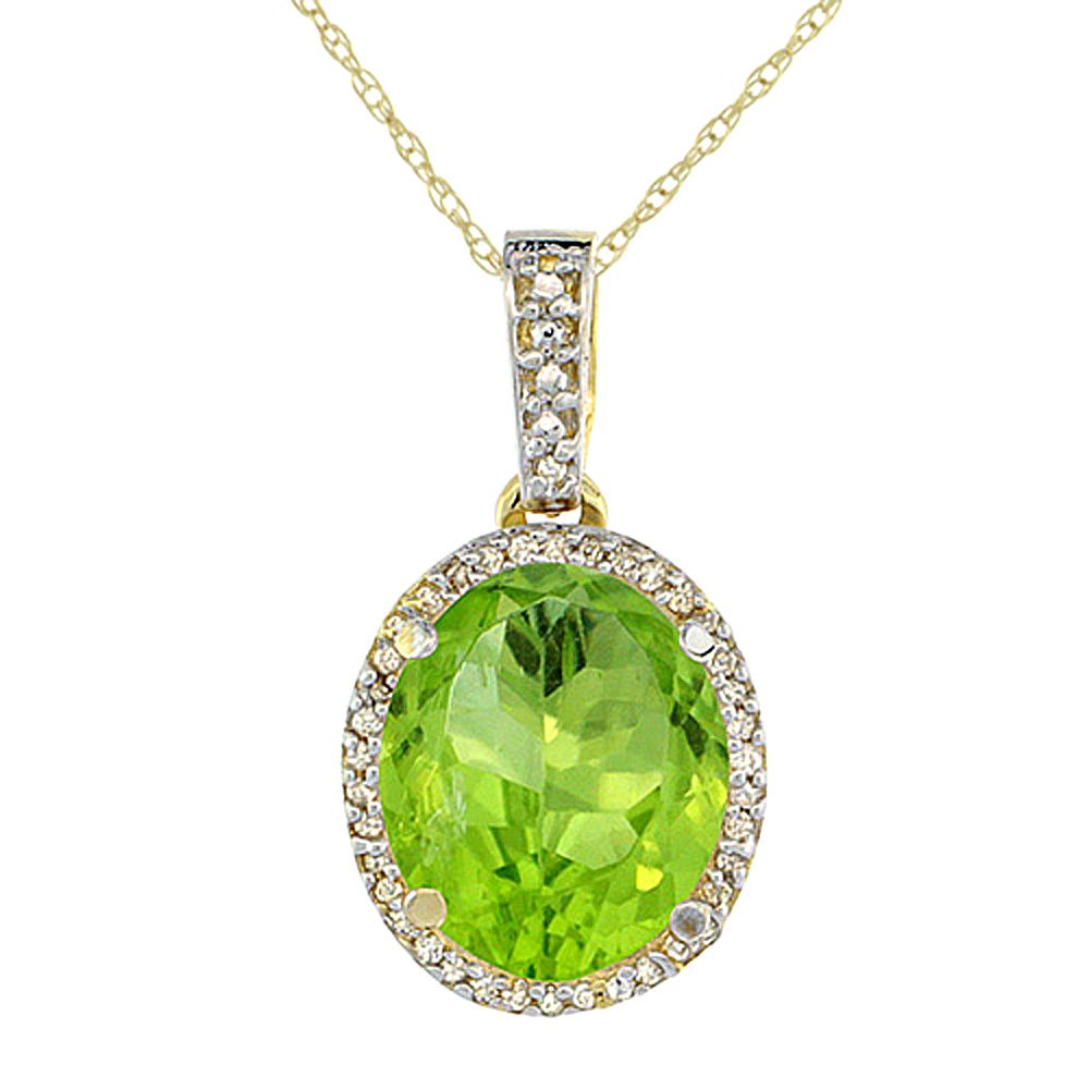 10K Yellow Gold Natural Peridot Pendant Oval 11x9 mm