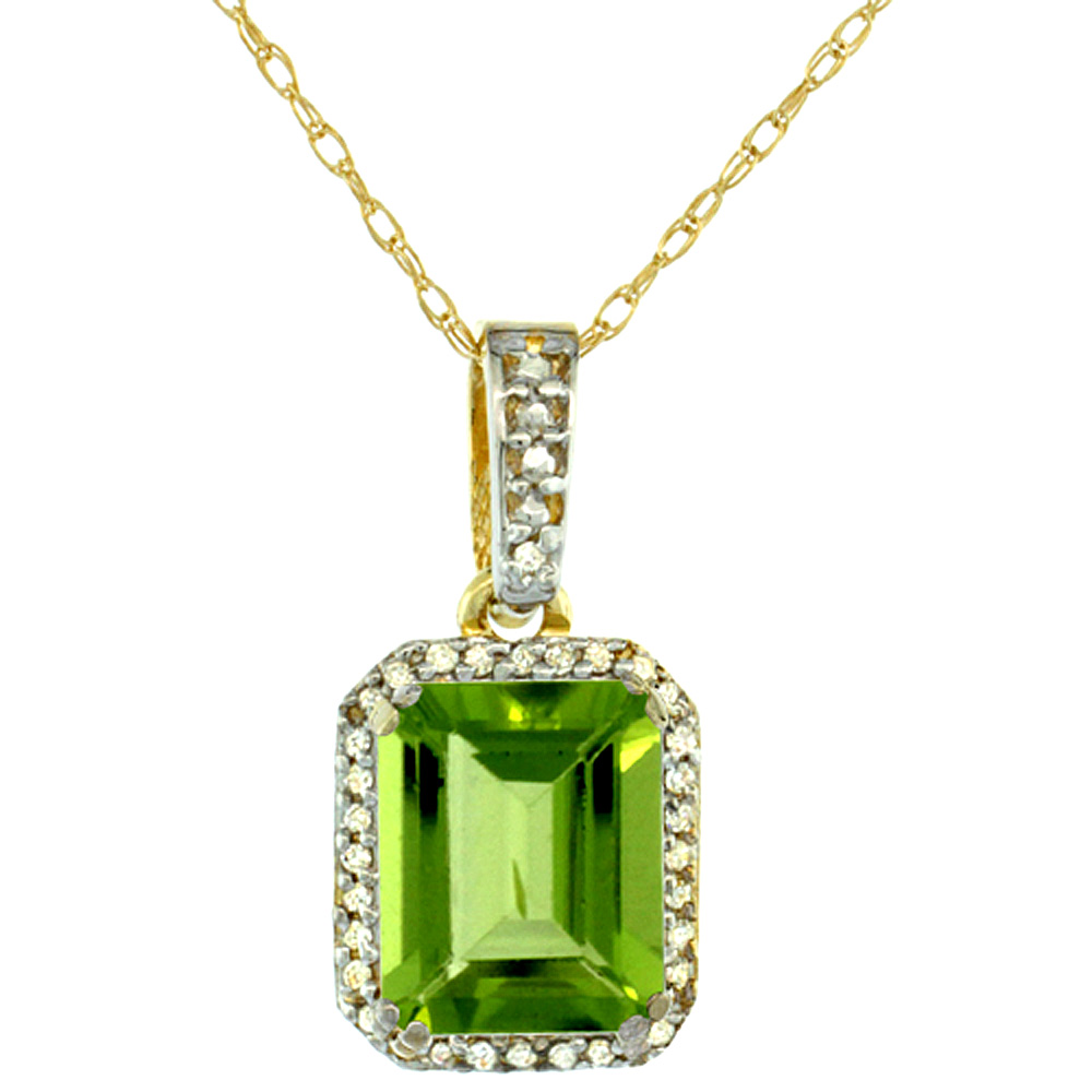 10K Yellow Gold Diamond Natural Peridot Pendant Octagon 9x7 mm