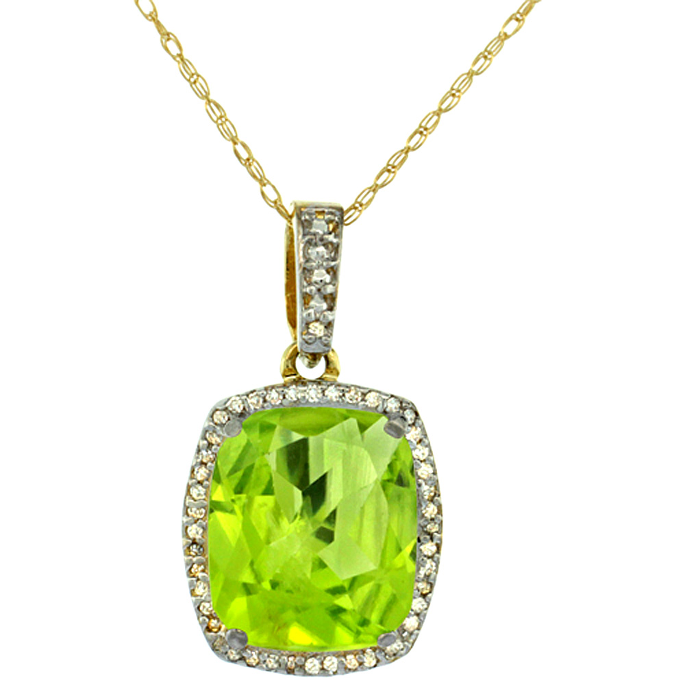 10K Yellow Gold Natural Peridot Pendant Octagon Cushion 12x10 mm