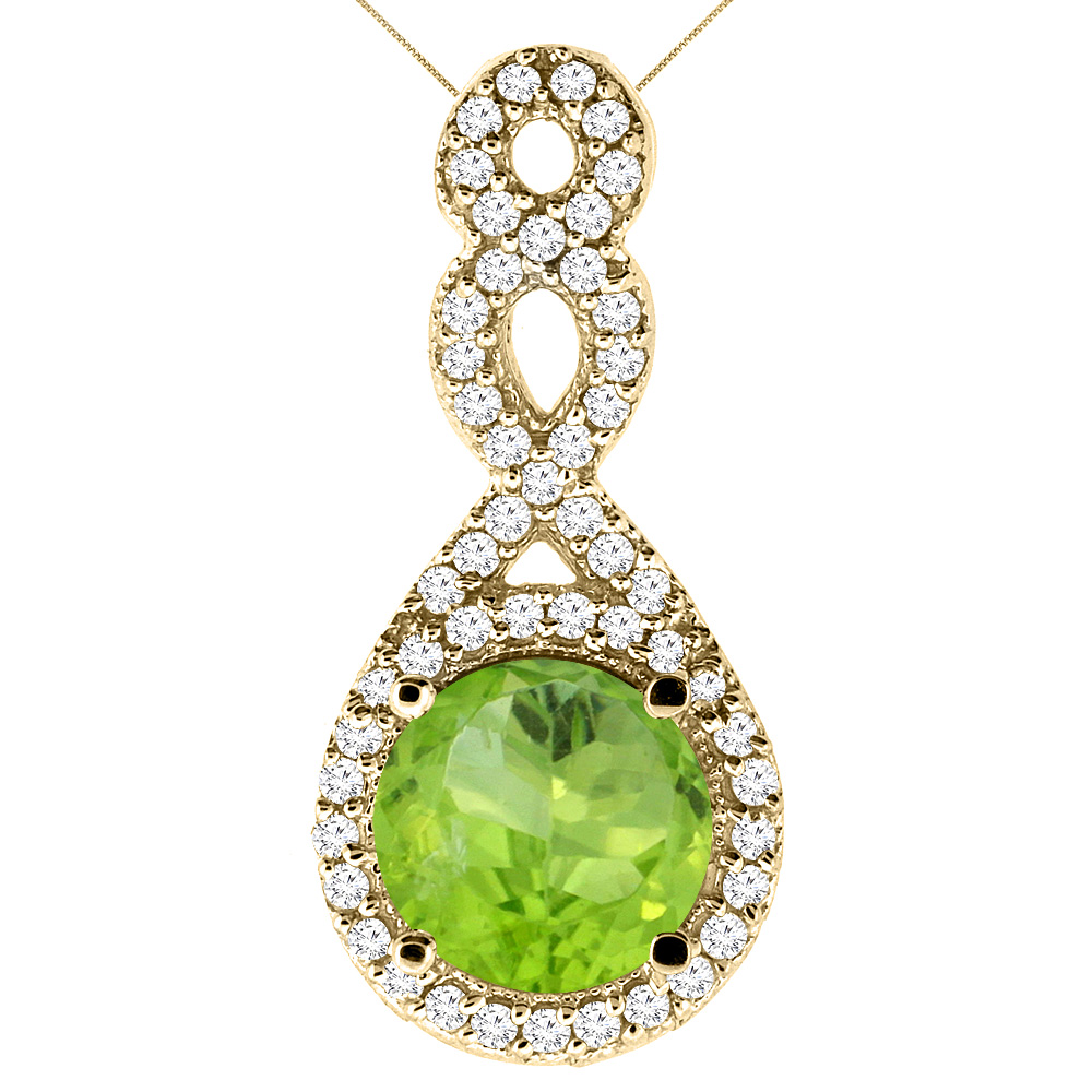 10K Yellow Gold Natural Peridot Eternity Pendant Round 7x7mm with 18 inch Gold Chain