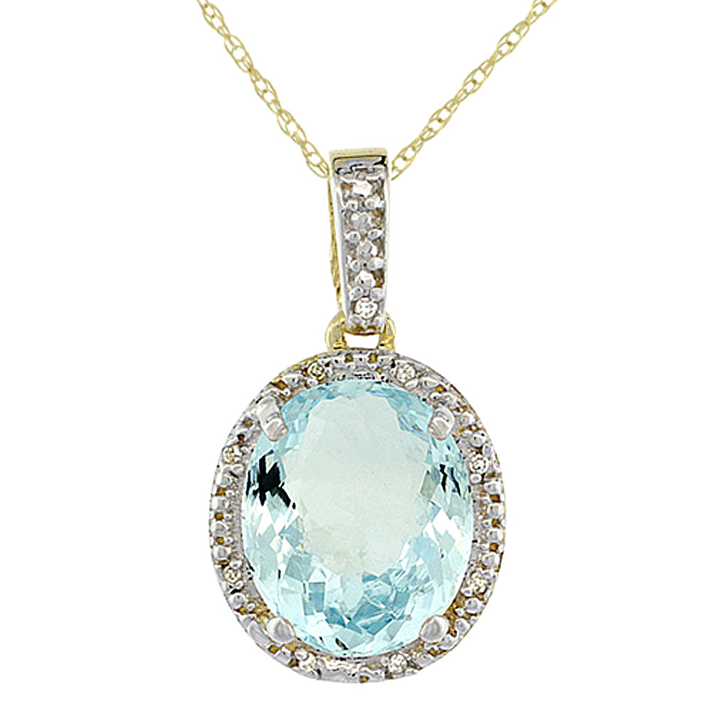 10K Yellow Gold Diamond Halo Natural Aquamarine Necklace Oval 12x10 mm, 18 inch long