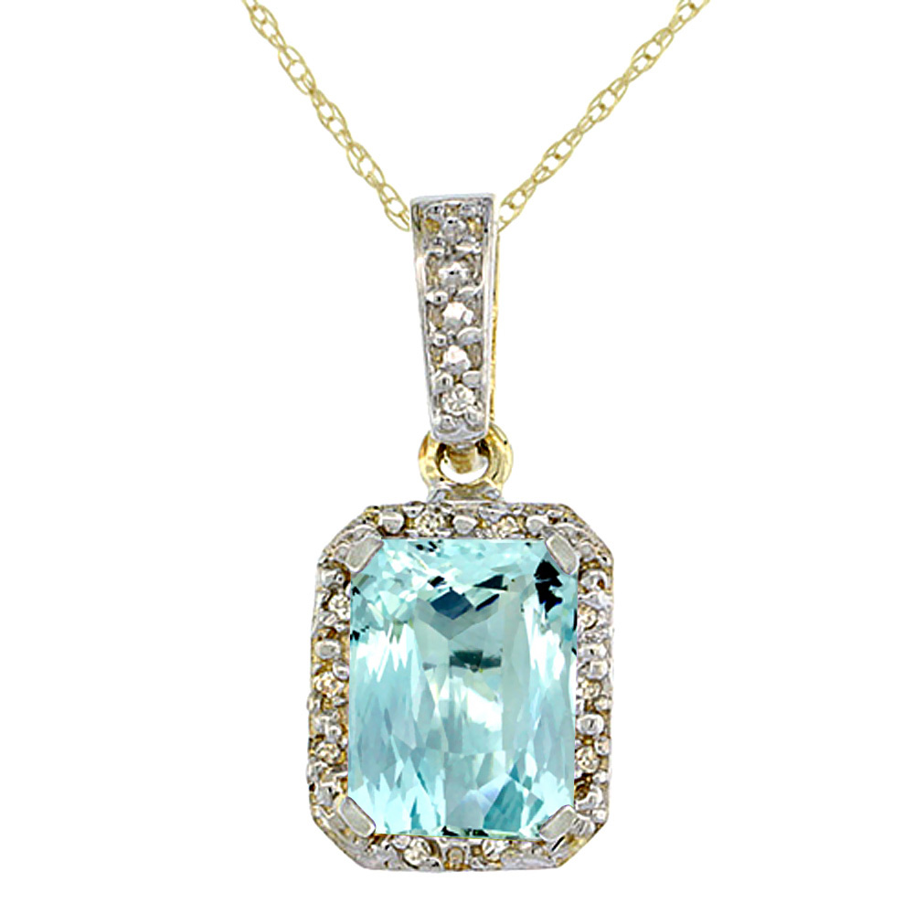 10K Yellow Gold Natural Aquamarine Pendant Octagon 8x6 mm & Diamond Accents