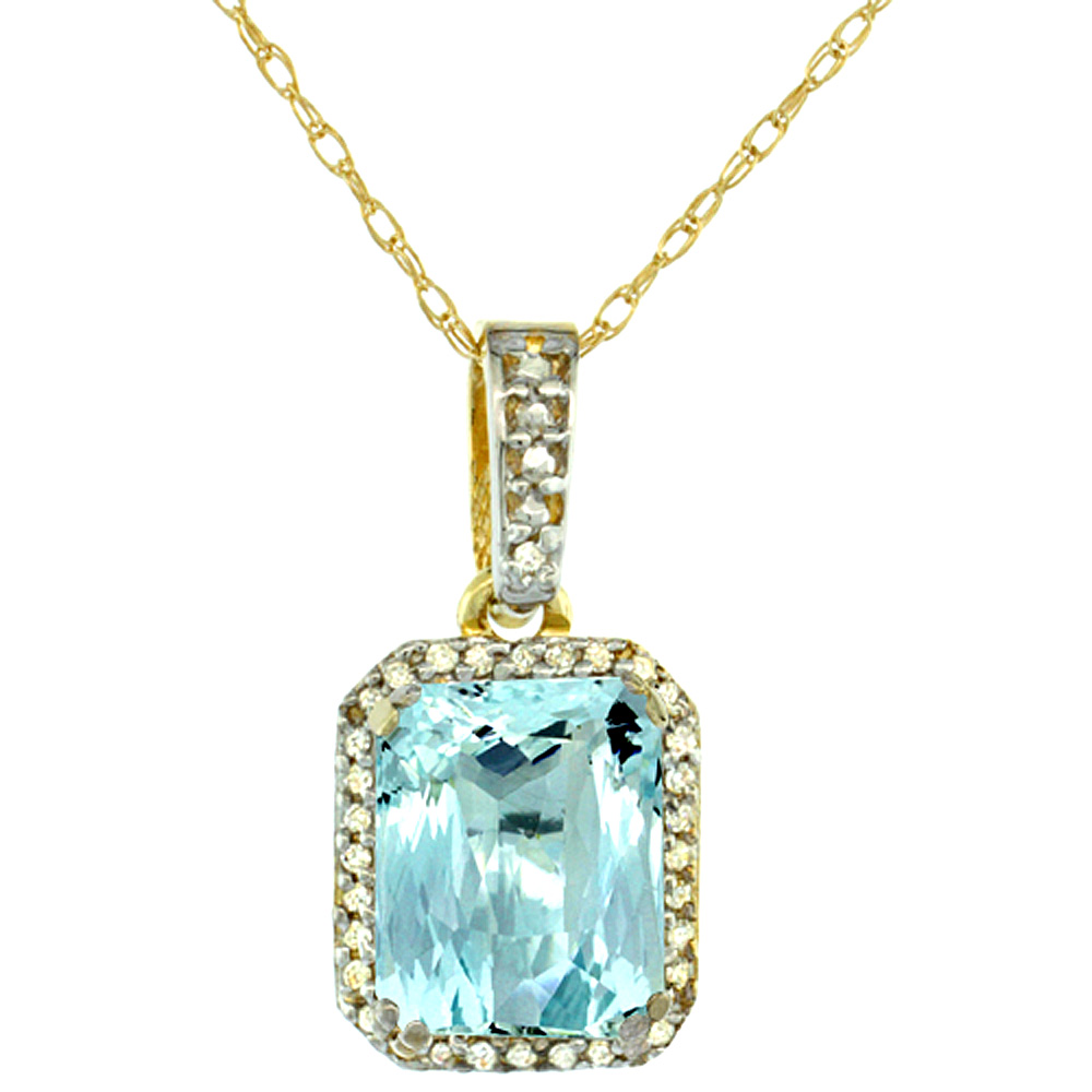 10K Yellow Gold Diamond Natural Aquamarine Pendant Octagon 9x7 mm