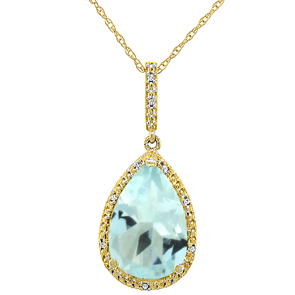 10K Yellow Gold Diamond Halo Natural Aquamarine Necklace Pear Shaped 15x10 mm, 18 inch long