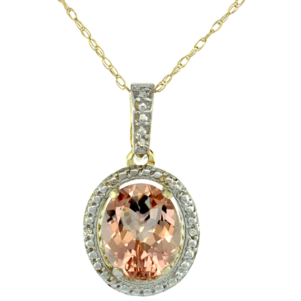 10K Yellow Gold 0.09 cttw Diamond Natural Morganite Pendant Oval 10x8 mm