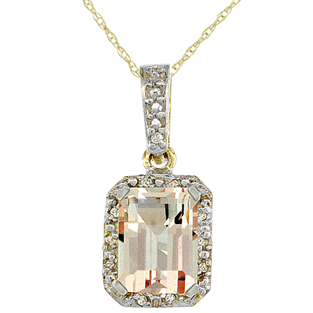 10K Yellow Gold Natural Morganite Pendant Octagon 8x6 mm & Diamond Accents