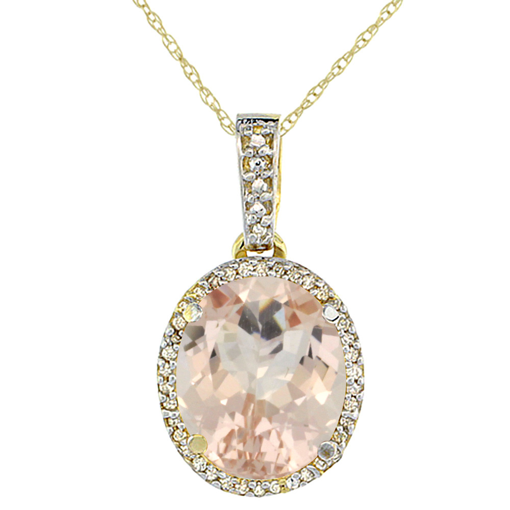 10K Yellow Gold Natural Morganite Pendant Oval 11x9 mm
