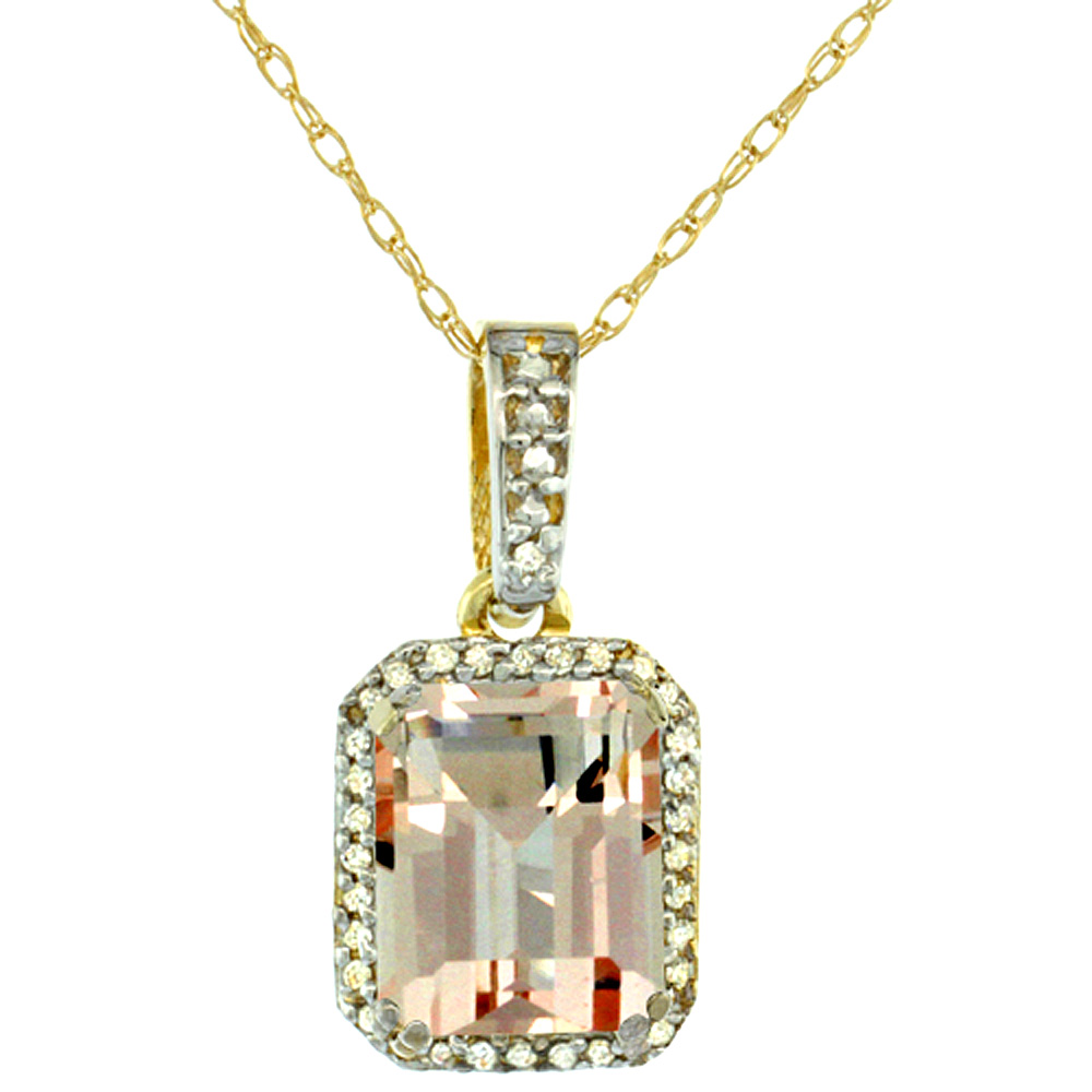 10K Yellow Gold Diamond Natural Morganite Pendant Octagon 9x7 mm