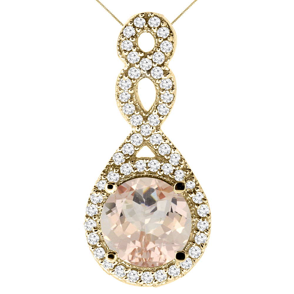 10K Yellow Gold Natural Morganite Eternity Pendant Round 7x7mm with 18 inch Gold Chain