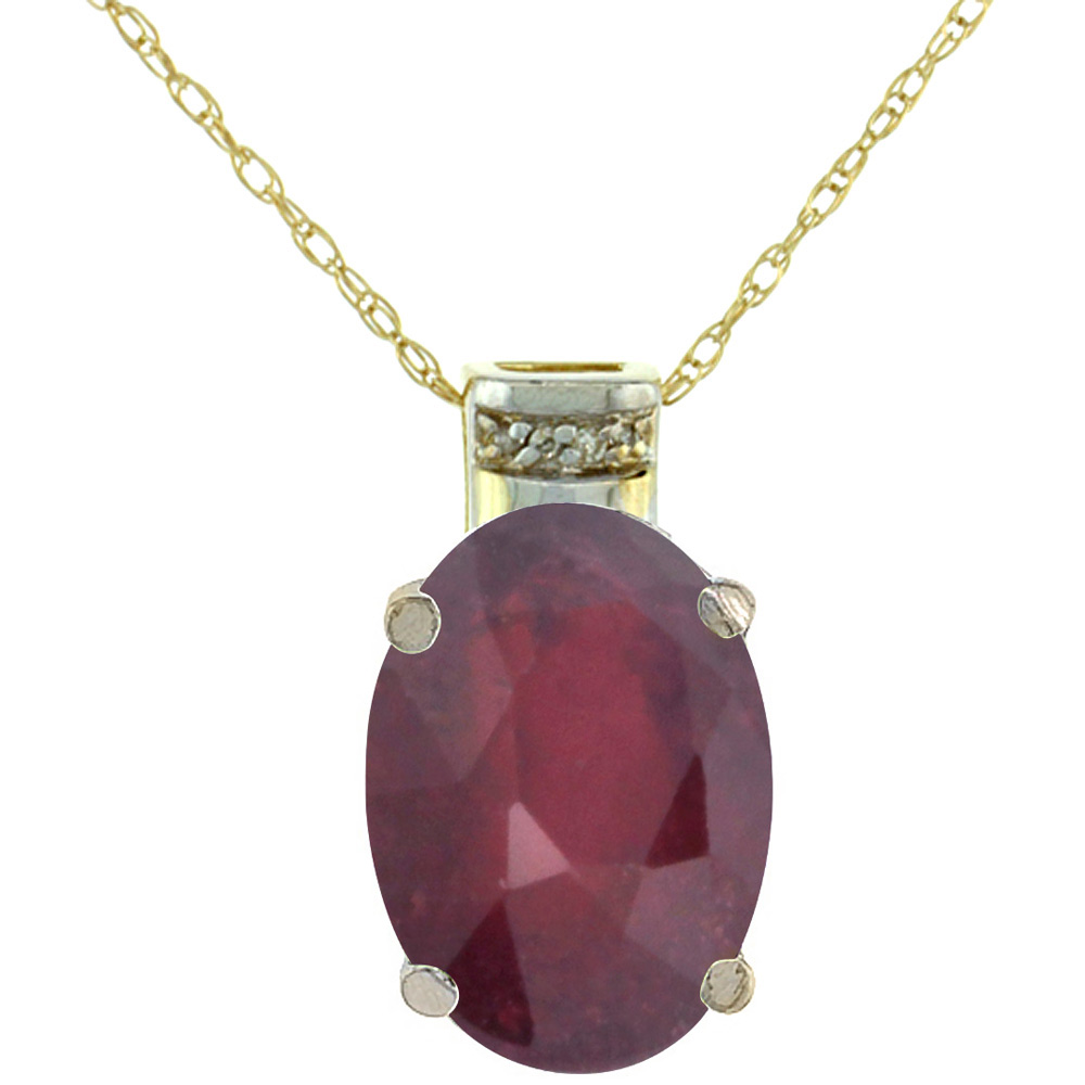 10K Yellow Gold Diamond Enhanced Genuine Ruby Ruby Pendant Oval 14x10 mm