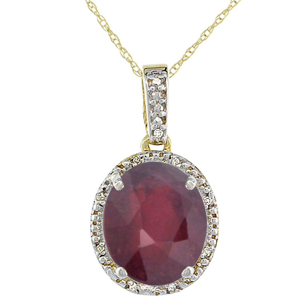 10K Yellow Gold Diamond Halo Enhanced Genuine Ruby Necklace Oval 12x10 mm, 18 inch long