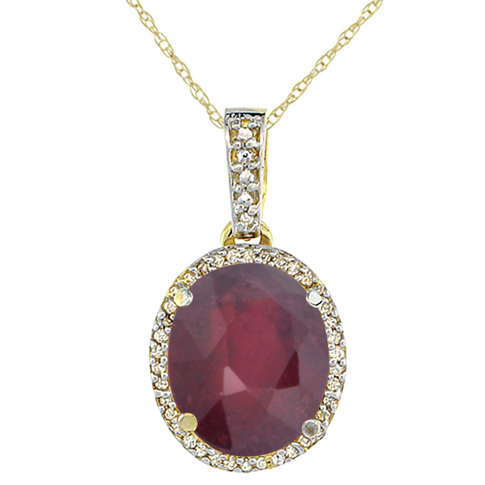 10K Yellow Gold Enhanced Genuine Ruby Pendant Oval 11x9 mm