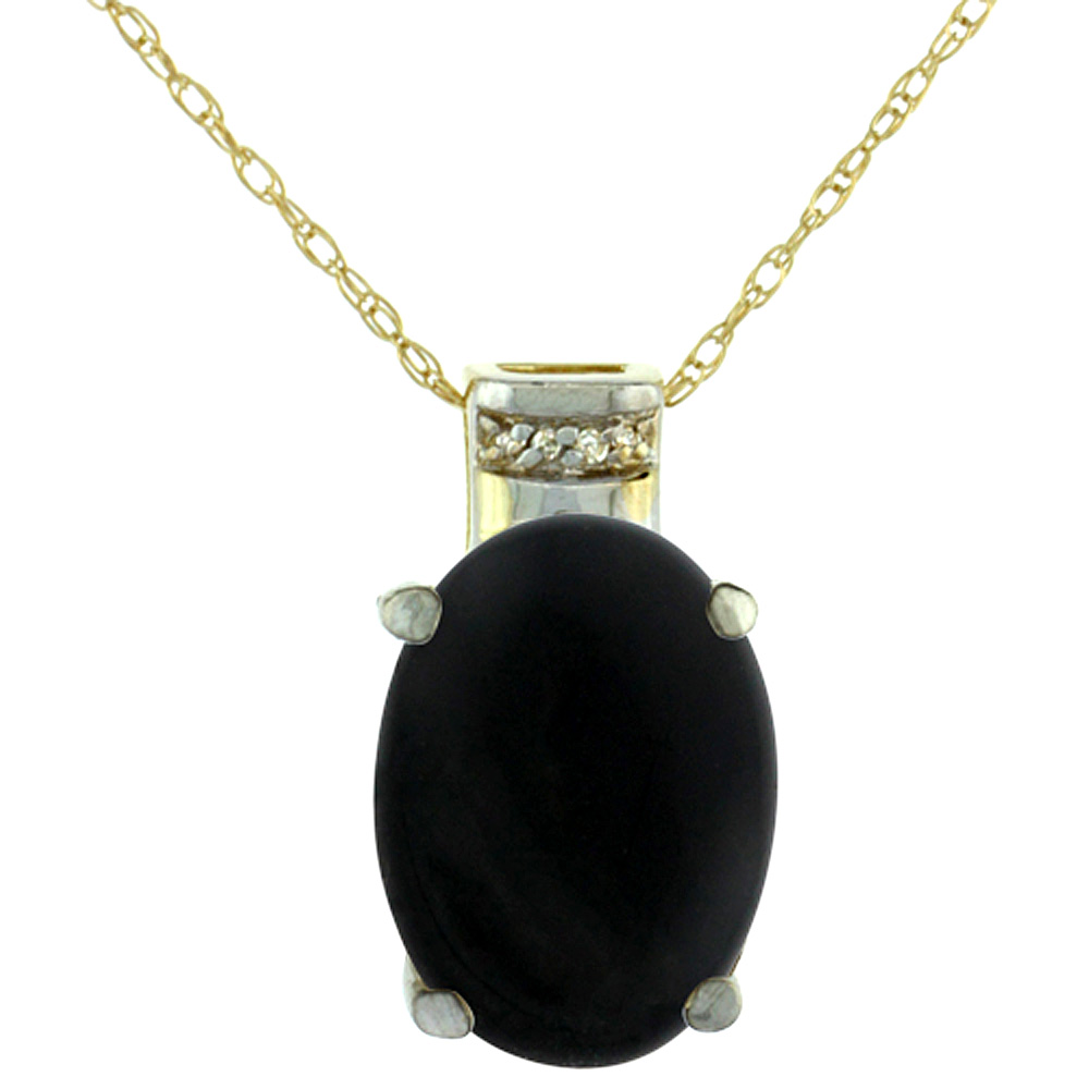 10K Yellow Gold Diamond Natural Black Onyx Pendant Oval 14x10 mm