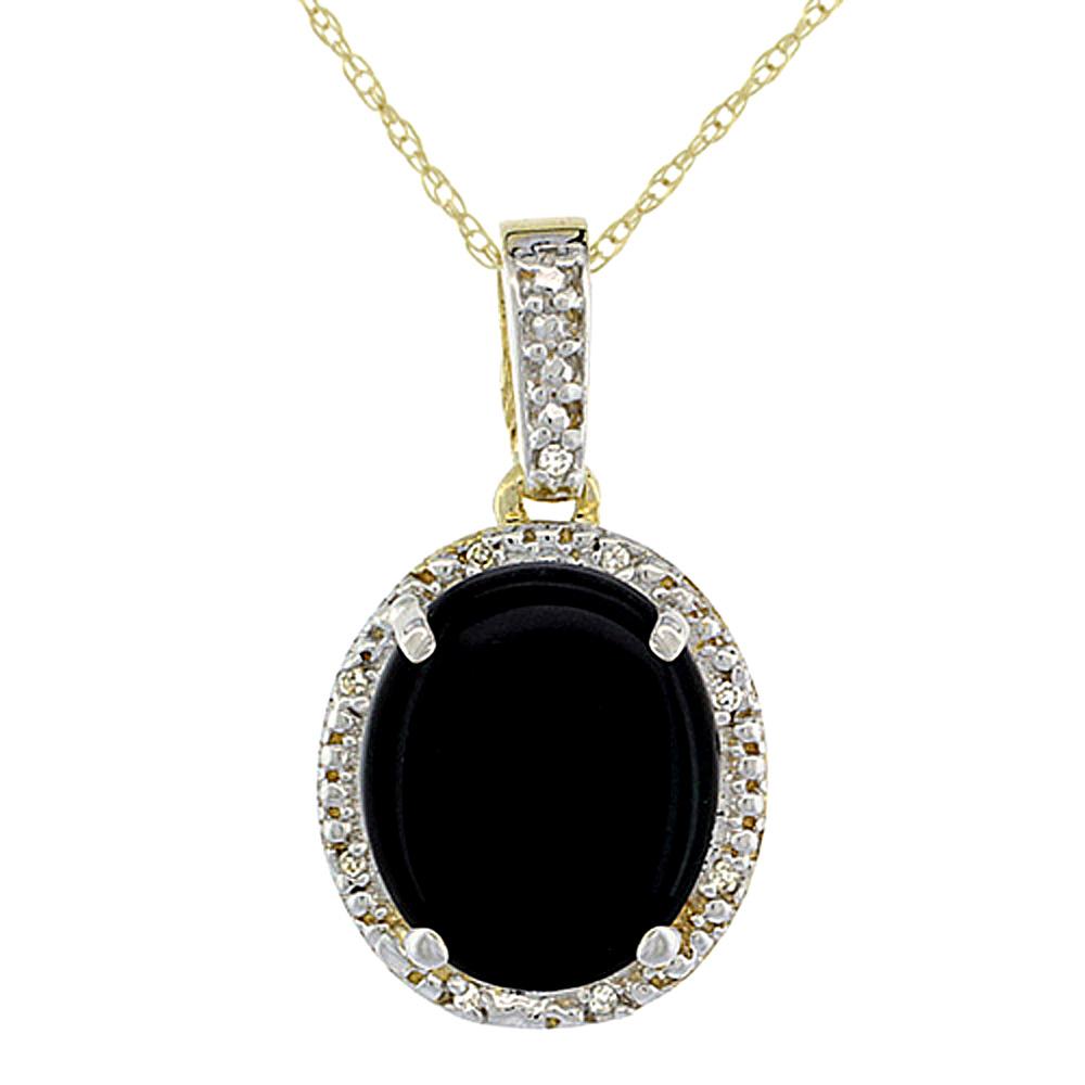 10K Yellow Gold Diamond Natural Black Onyx Pendant Oval 12x10 mm