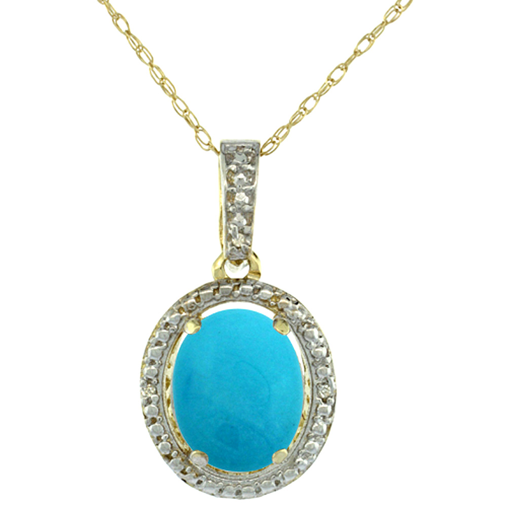 10K Yellow Gold 0.09 cttw Diamond Natural Turquoise Pendant Oval 10x8 mm