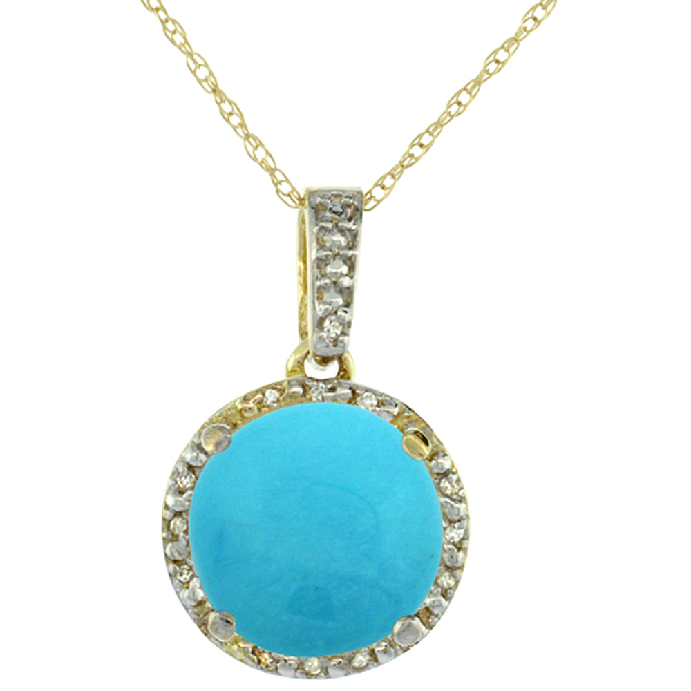 10K Yellow Gold 0.03 cttw Diamond Natural Turquoise Pendant Round 11x11 mm