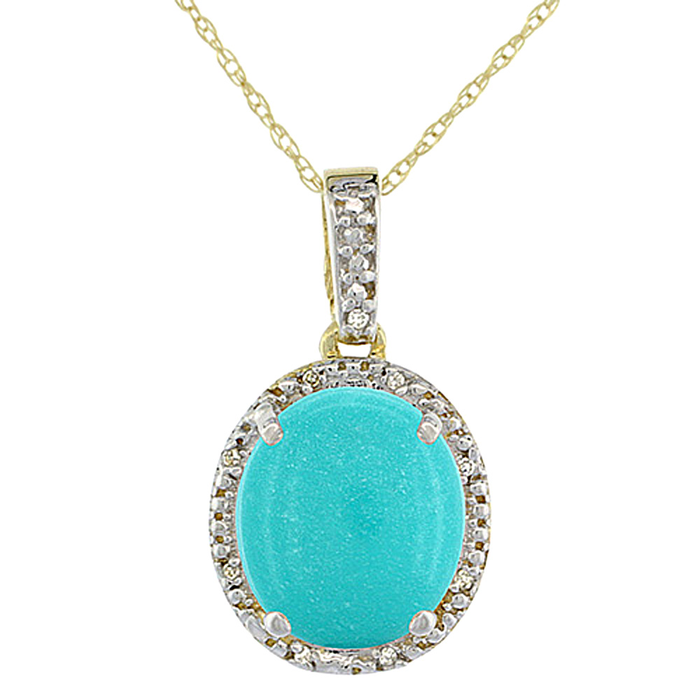 10K Yellow Gold Diamond Halo Natural Turquoise Necklace Oval 12x10 mm, 18 inch long