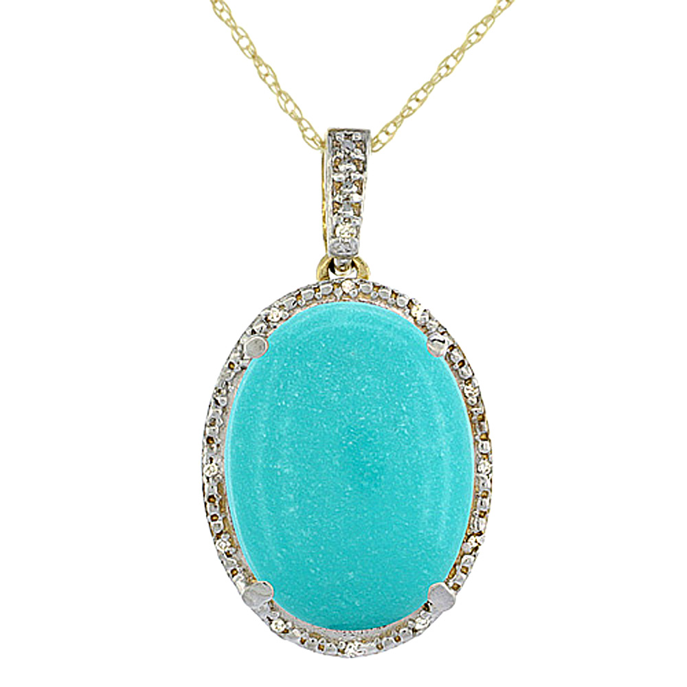 10K Yellow Gold Diamond Natural Turquoise Pendant Oval 18x13 mm