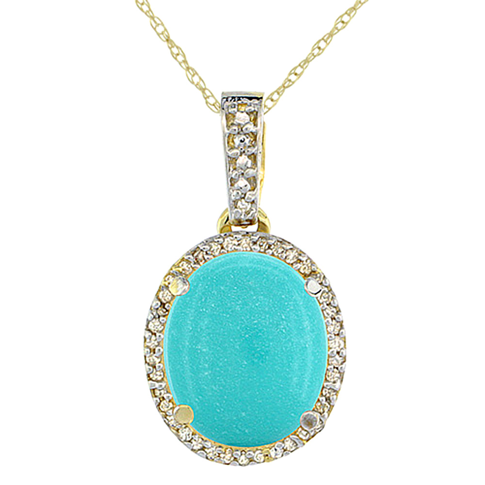 10K Yellow Gold Natural Turquoise Pendant Oval 11x9 mm