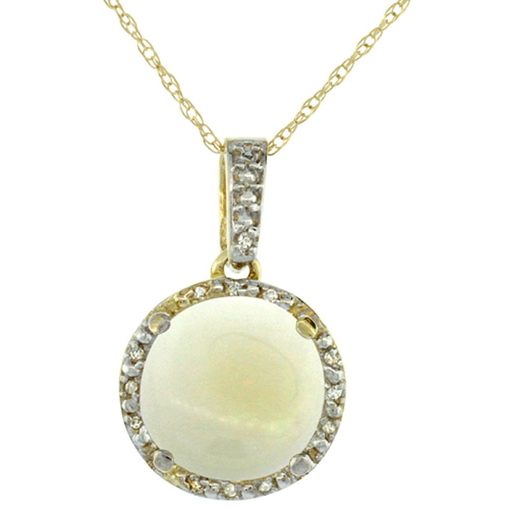 10K Yellow Gold 0.03 cttw Diamond Natural Opal Pendant Round 11x11 mm