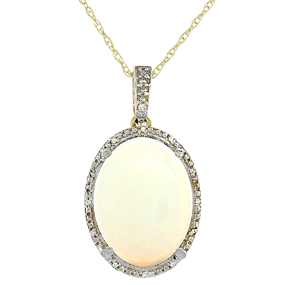 10K Yellow Gold Diamond Natural Opal Pendant Oval 18x13 mm