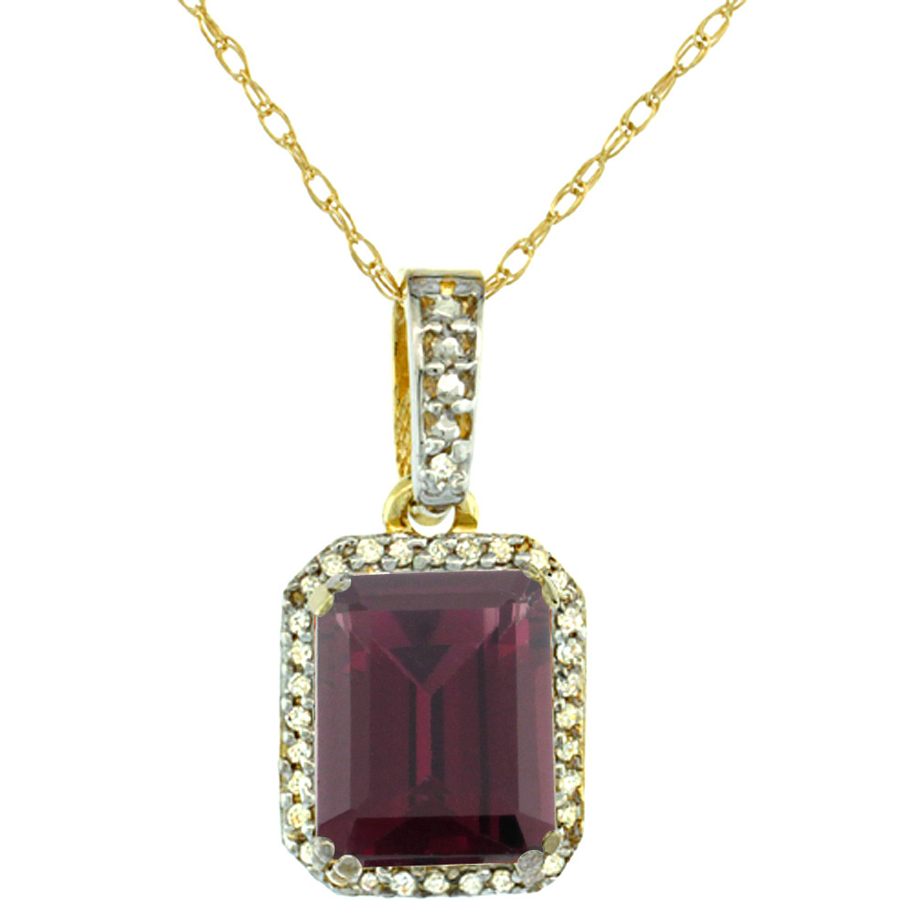 10K Yellow Gold Diamond Natural Rhodolite Pendant Octagon 9x7 mm