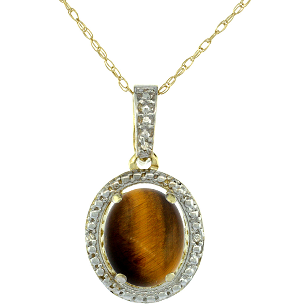 10K Yellow Gold 0.09 cttw Diamond Natural Tiger Eye Pendant Oval 10x8 mm