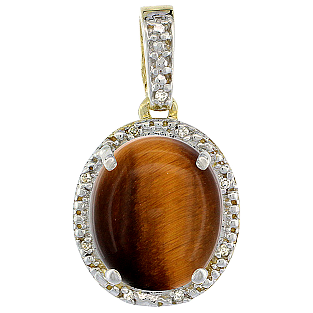 10K Yellow Gold Diamond Halo Natural Tiger Eye Necklace Oval 12x10 mm, 18 inch long