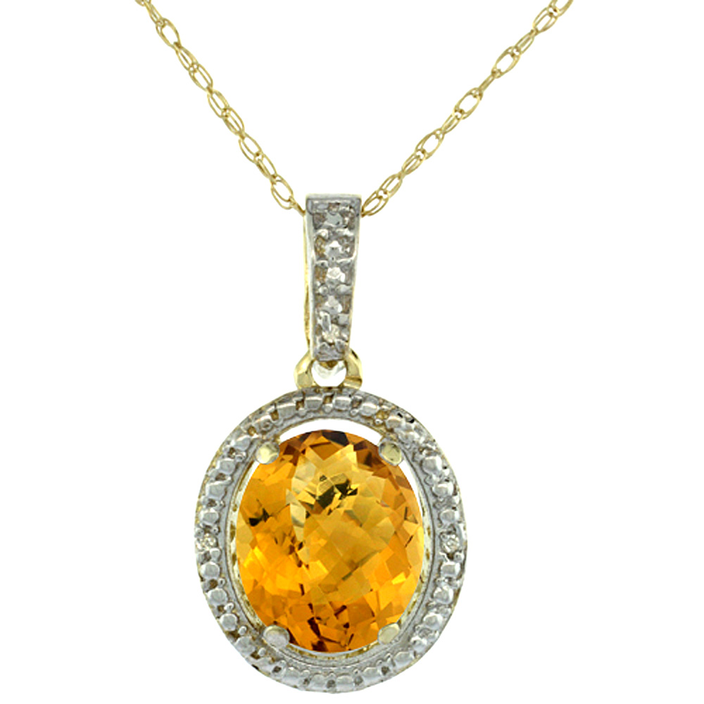 10K Yellow Gold 0.09 cttw Diamond Natural Whisky Quartz Pendant Oval 10x8 mm