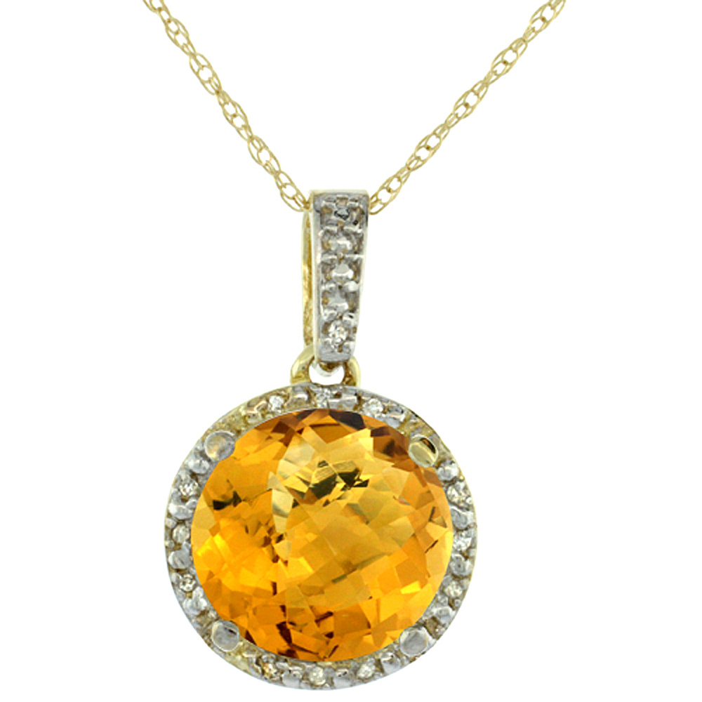 10K Yellow Gold 0.03 cttw Diamond Natural Whisky Quartz Pendant Round 11x11 mm