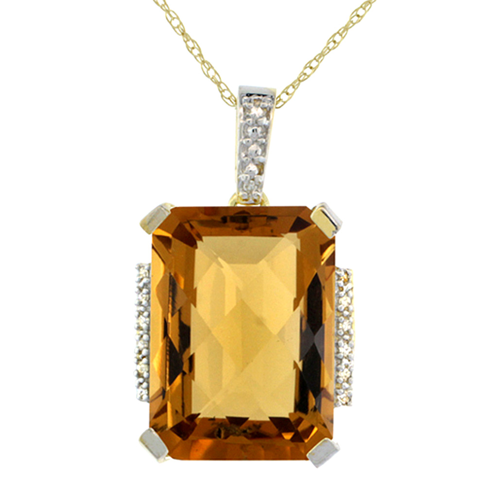 10K Yellow Gold Natural Whisky Quartz Pendant Octagon 16x12 mm & Diamond Accents