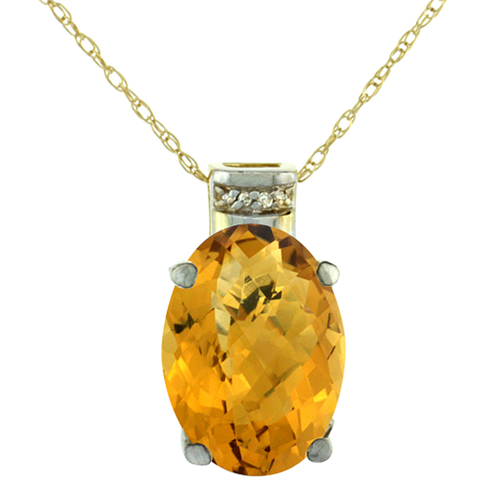 10K Yellow Gold Diamond Natural Whisky Quartz Pendant Oval 14x10 mm