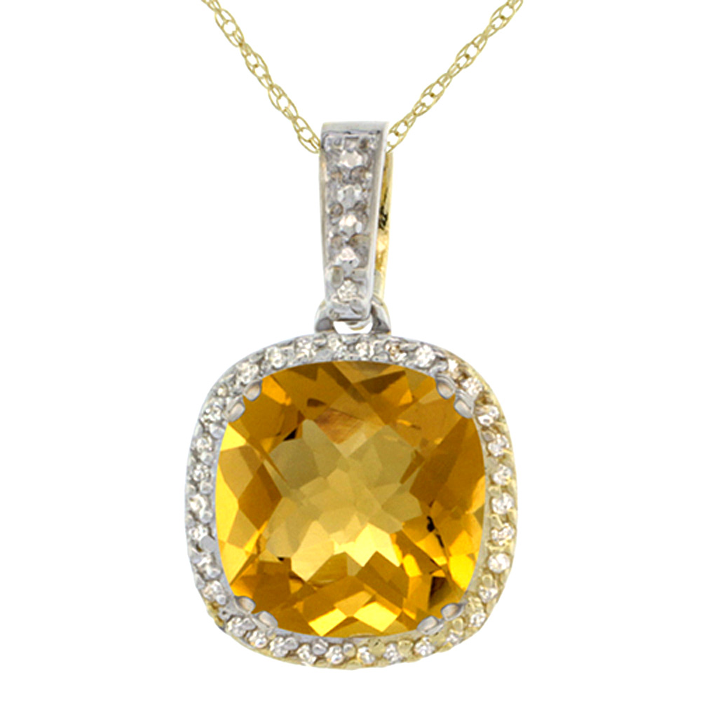 10k Yellow Gold Diamond Halo Natural Whisky Quartz Necklace Cushion Shaped 10x10mm, 18 inch long