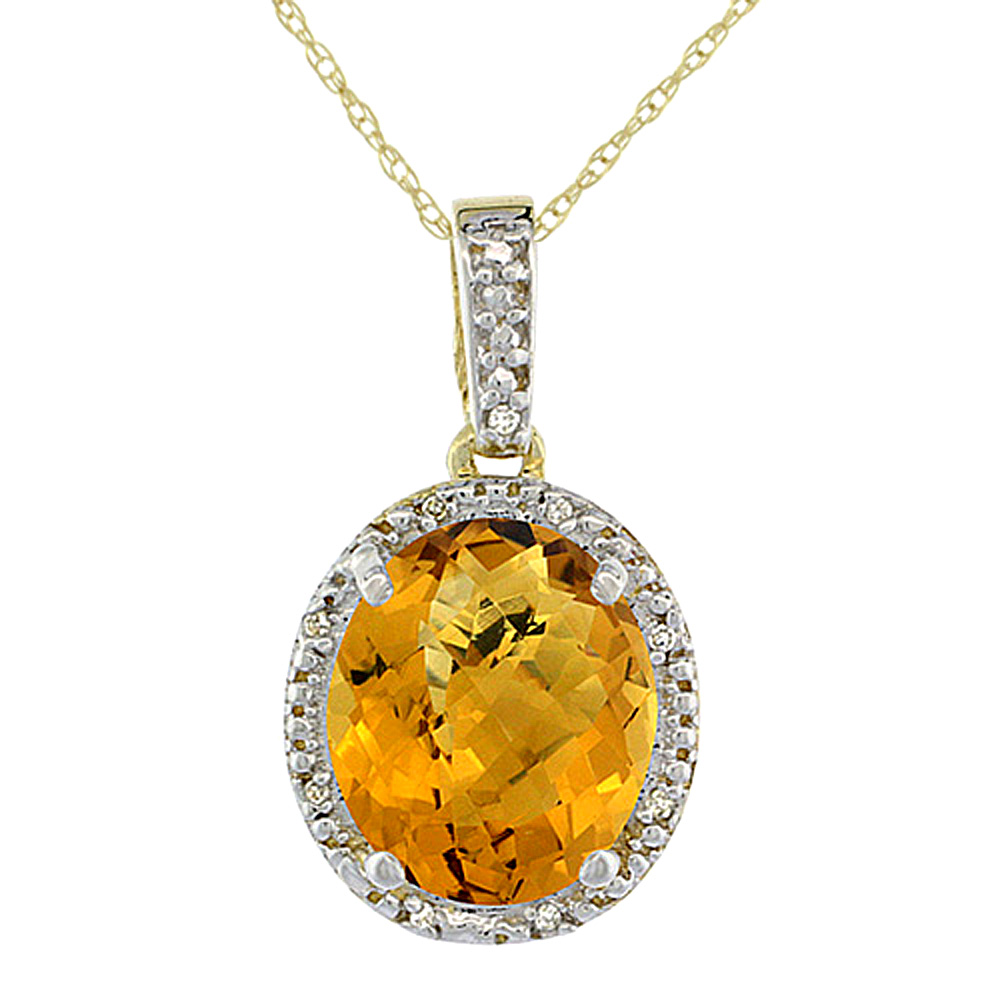 10K Yellow Gold Diamond Halo Natural Whisky Quartz Necklace Oval 12x10 mm, 18 inch long