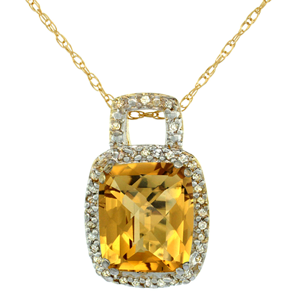 10K Yellow Gold Natural Whisky Quartz Pendant Octagon Cushion 10x8 mm & Diamond Accents