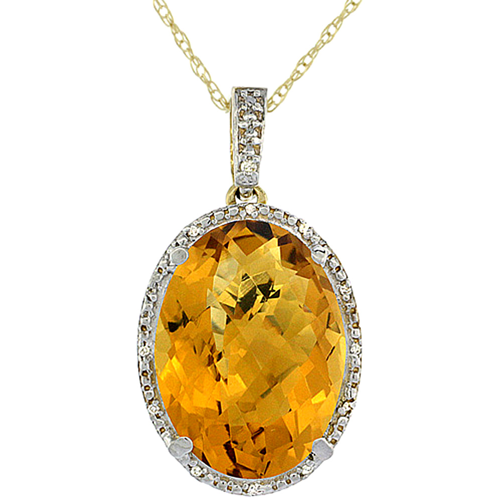 10K Yellow Gold Diamond Natural Whisky Quartz Pendant Oval 18x13 mm