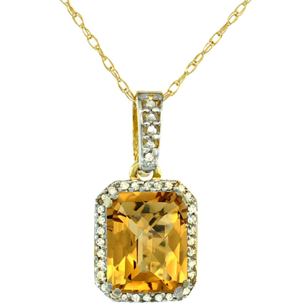 10K Yellow Gold Diamond Natural Whisky Quartz Pendant Octagon 9x7 mm