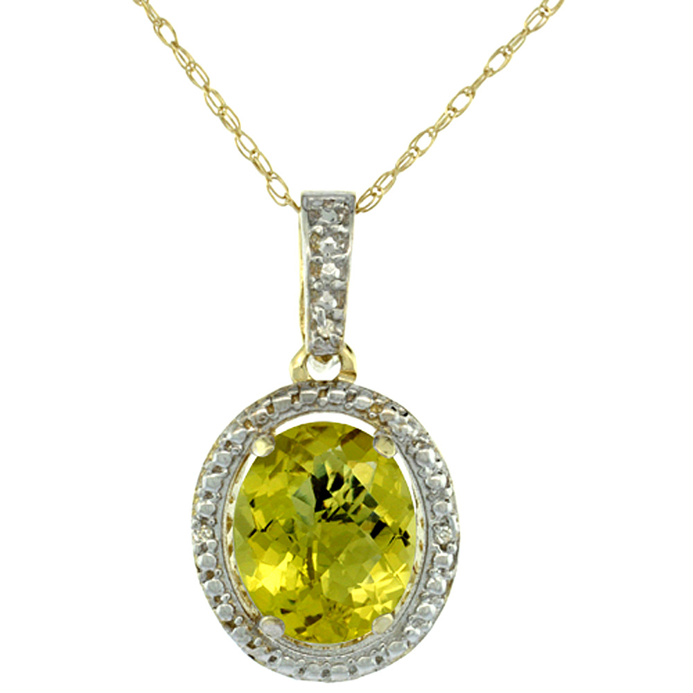 10K Yellow Gold 0.09 cttw Diamond Natural Lemon Quartz Pendant Oval 10x8 mm