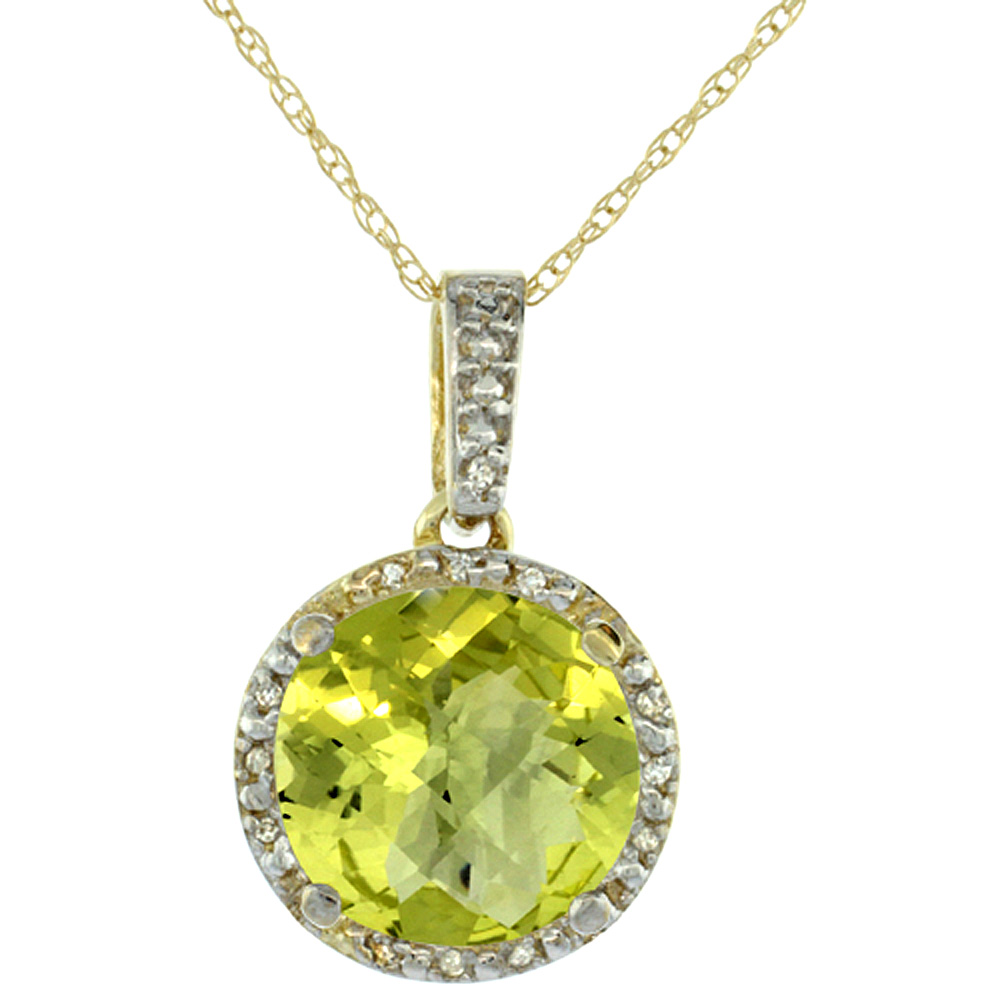 10K Yellow Gold 0.03 cttw Diamond Natural Lemon Quartz Pendant Round 11x11 mm